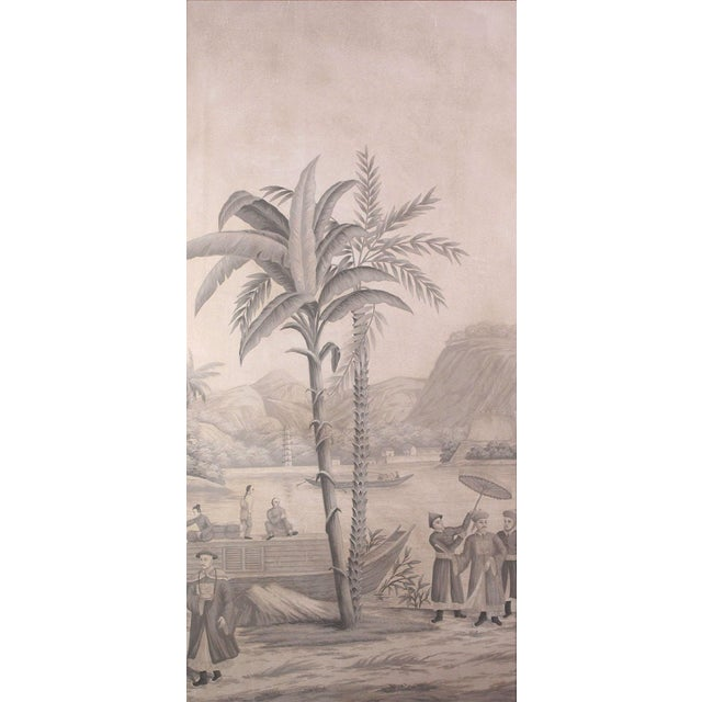 2010s Large Scale Triptych of Idyllic Scenes of Ancient China, Paintings in Brunaille, Jardins en Fleur Showroom Samples For Sale - Image 5 of 9