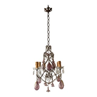 French Amethyst Murano Huge Blown Pears & Flowers Crystal Chandelier, circa 1930 For Sale