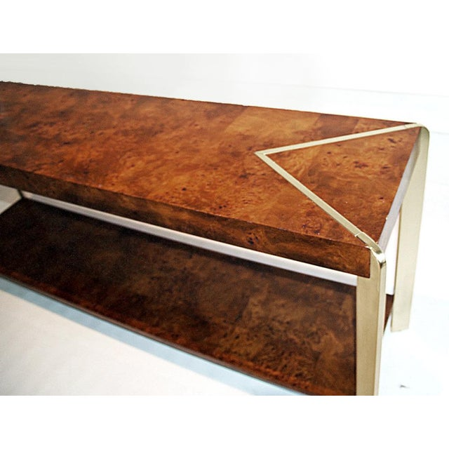 Burl Wood & Brass Console - Image 3 of 4