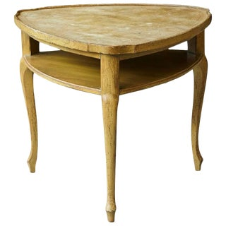 French Provincial Triangle End Table with Embossed Leather Top For Sale