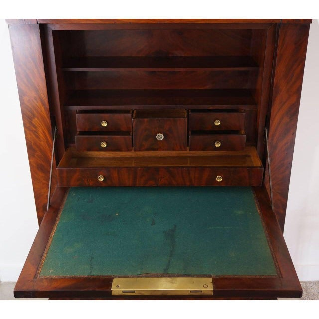 Antique 1852 French Empire Secretaire Abattant Secretary Desk For Sale - Image 9 of 12