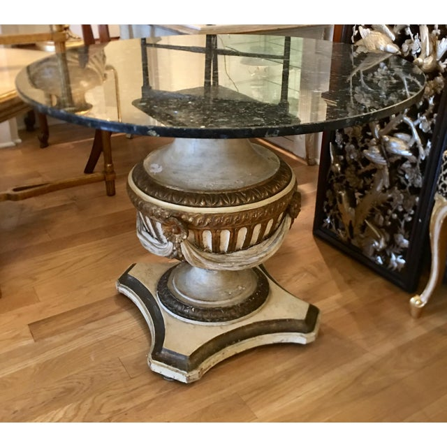 Early 20th Century Antique Carved Italian Paint Decorated Pedestal Table W Granite Top For Sale - Image 5 of 5