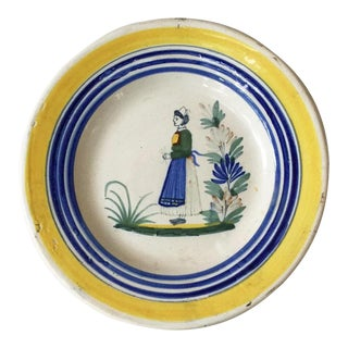 French Faience Plate Henriot Quimper Circa 1930 For Sale