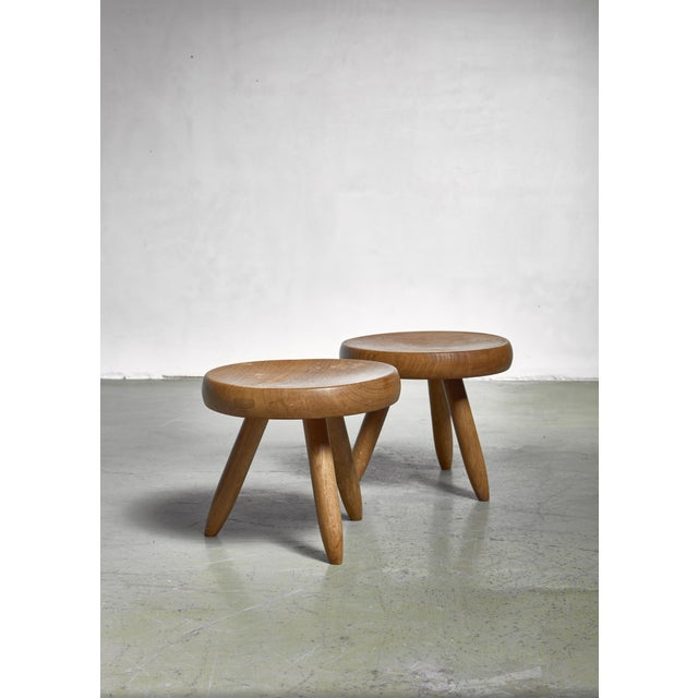 Mid-Century Modern Charlotte Perriand Pair of Low Stools in Ash, France For Sale - Image 3 of 3