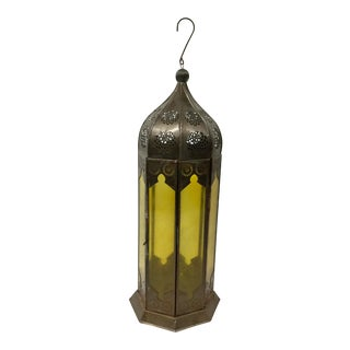 Marrakech Hanging Glass & Metal Candle Lantern For Sale