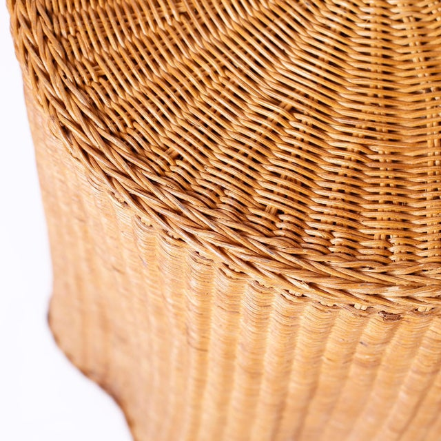Midcentury Wicker Drape Tables or Stands - A Pair For Sale In West Palm - Image 6 of 9