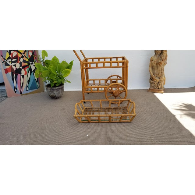 Brown Vintage Boho Chic Rattan & Bamboo Rolling Bar Cart For Sale - Image 8 of 13