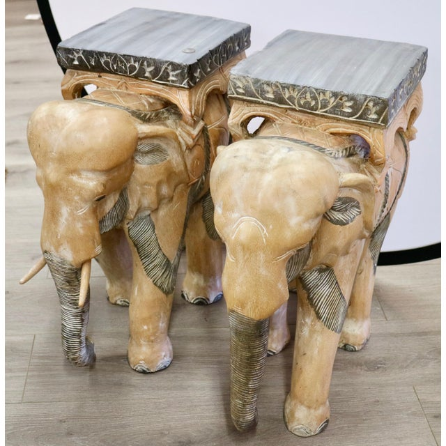 Carved Wood Elephants - a Pair For Sale In New York - Image 6 of 6