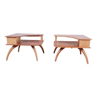 Heywood Wakefield Mid-Century Modern Solid Maple Corner End Tables, Pair For Sale