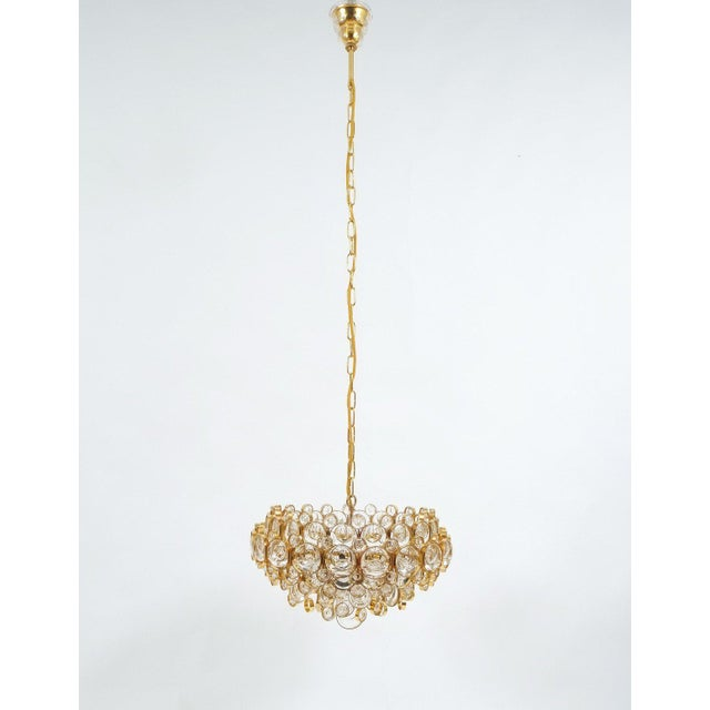 Hollywood Regency Large Gold Palwa Brass and Glass Chandelier Lamp, Germany 1960 For Sale - Image 3 of 9