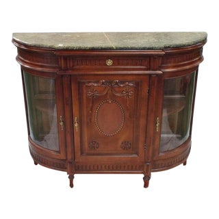 Marble-Topped Carved Mahogany Single Door Display Cabinet For Sale