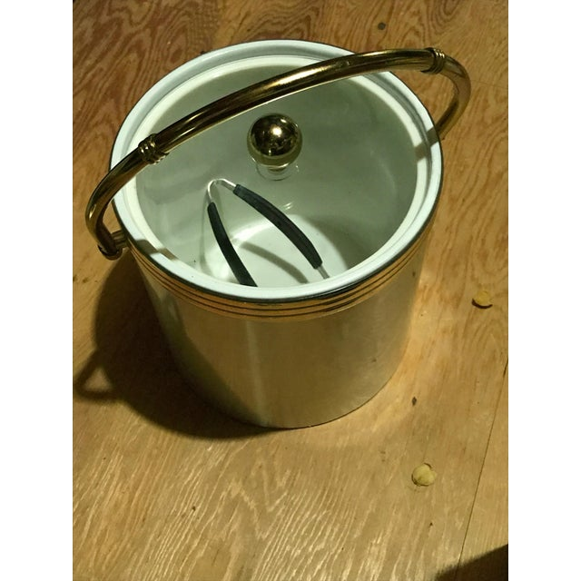 Aluminium & Gold Ice Bucket With Gold Bamboo Handle & Lucite Lid - Image 2 of 8