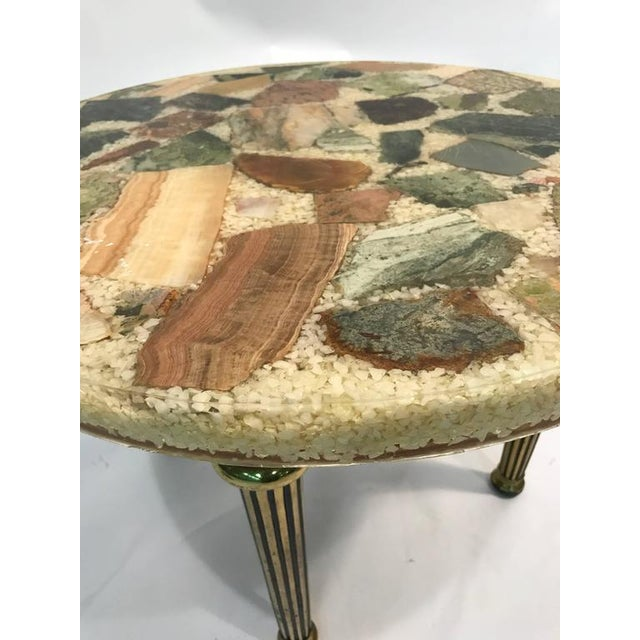 Italian UNUSUAL ITALIAN SPECIMEN SIDE OR ACCENT TABLE WITH STONE TOP AND BRASS LEGS For Sale - Image 3 of 8