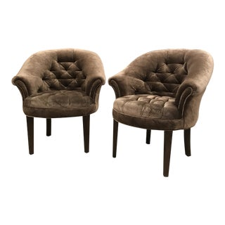Art Deco Taupe Velvet Tufted Club Chairs - a Pair For Sale