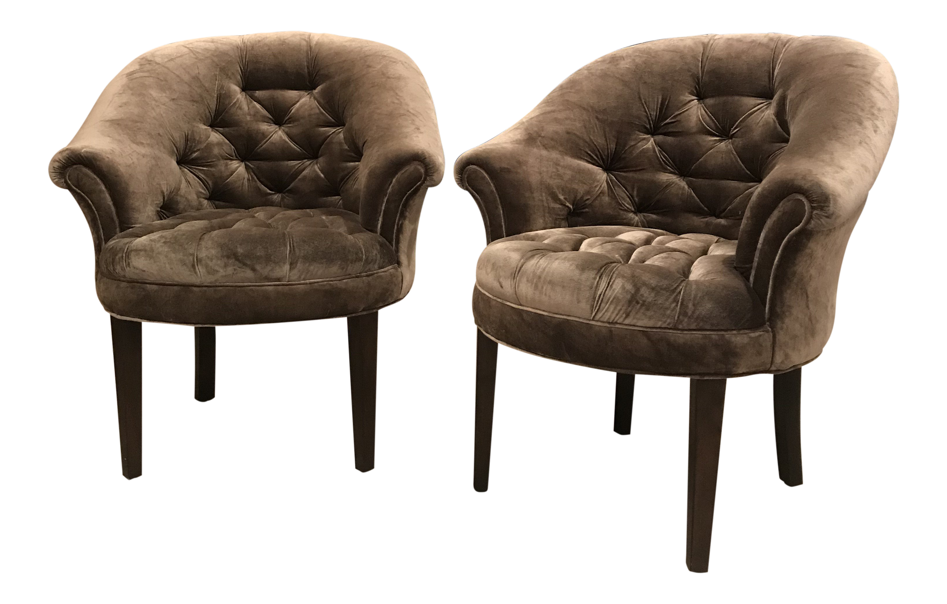 Art Deco Taupe Velvet Tufted Club Chairs   A Pair For Sale