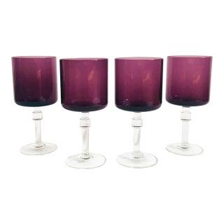 Mid Century Purple Wine Glasses - Set of 4 For Sale