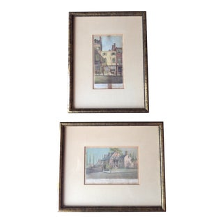 Vintage Architectural Hand Colored Etchings - a Pair For Sale