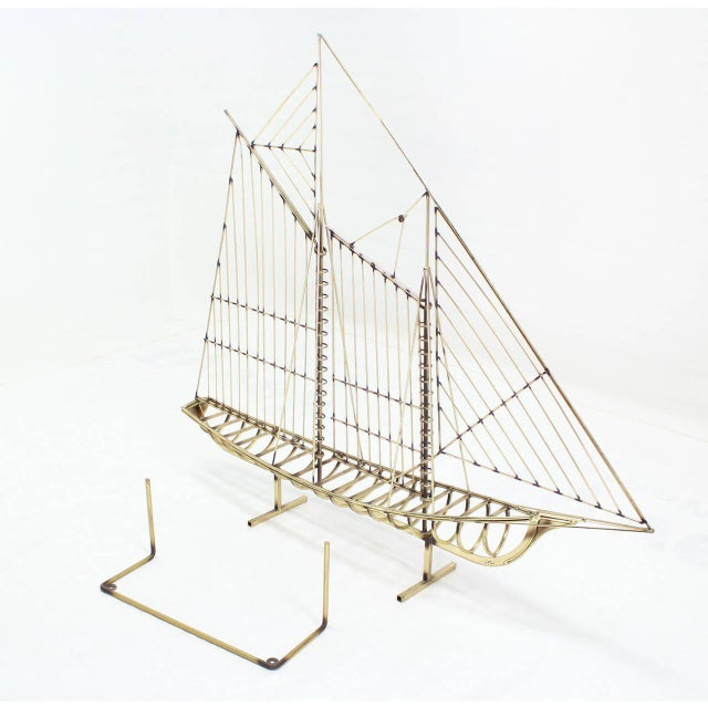 Long Brass 1976 Curtis Jere Sail Boat Sculpture For Sale - Image 4 of 10