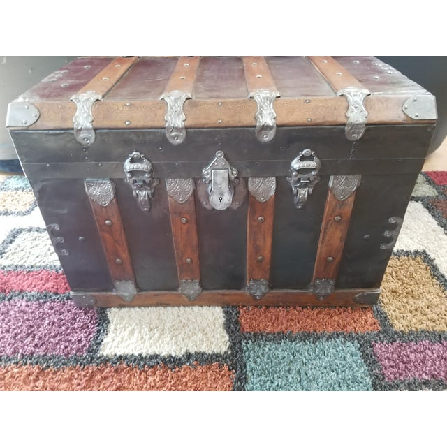 Antique Beveled Top, Wood Slatted Metal Trunk - Image 8 of 8