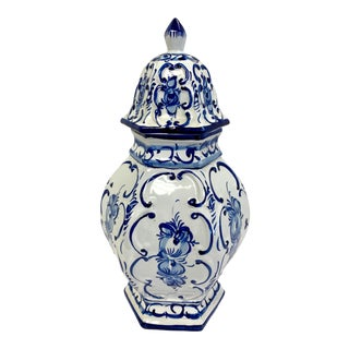 Hand Painted Blue and White Porcelain Urn Vase For Sale