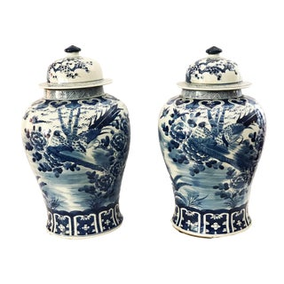 Chinoiserie Lidded Ginger Jars - a Pair For Sale