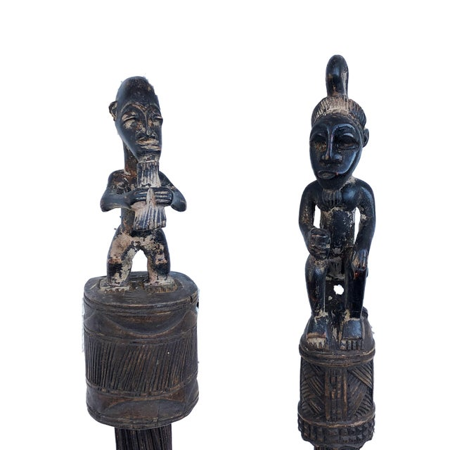 1980s African Baule Brooms with Figures - a Pair For Sale - Image 5 of 10