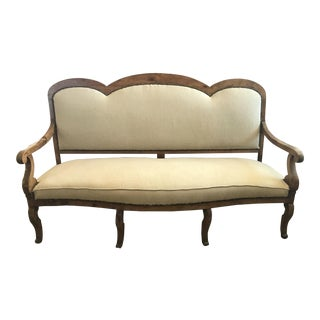 Early 19th Century Antique Belgian Linen French Settee Bench For Sale