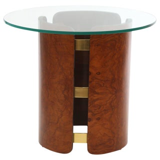Stunning Burl and Brass Side or Occasional Table For Sale