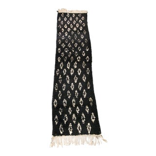 Black With Ivory Open Diamond Pattern Moroccan Shag Runner For Sale