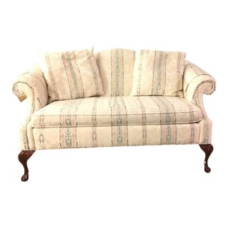 1900s Queen Anne Camelback Mahogany Wood Loveseat