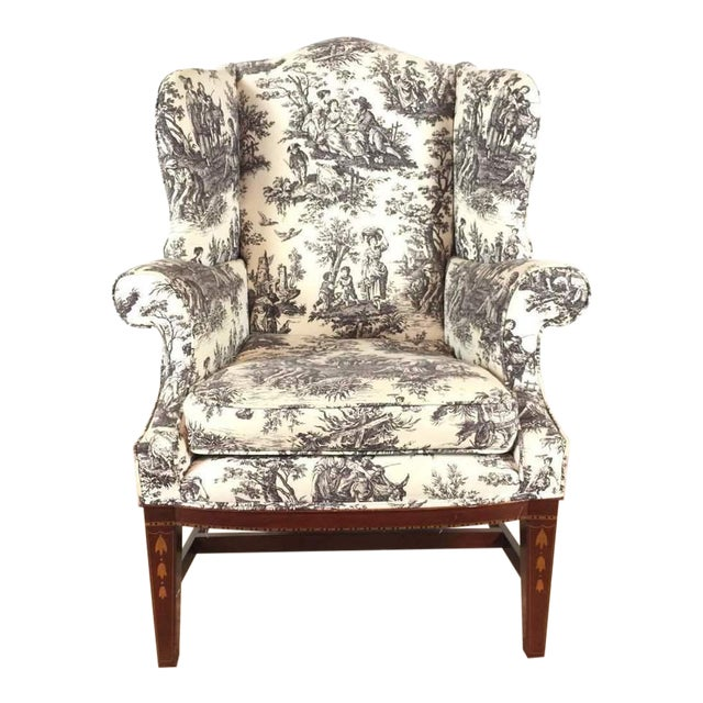 Astonishing Toile Upholstered Wingback Armchair Caraccident5 Cool Chair Designs And Ideas Caraccident5Info