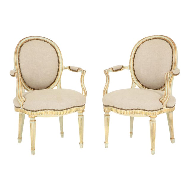 Pair of Louis XVI Style Fauteuils For Sale