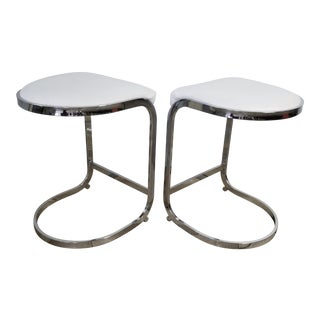 A - Pair of Milo Baughman Chrome and Leather Cantilever Bar Stool. For Sale