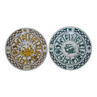Chinese Zodiac Wall Plates - A Pair For Sale