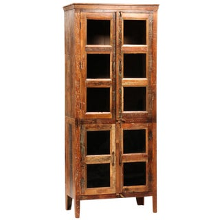 Reclaimed Wood Glass Display Cabinet For Sale