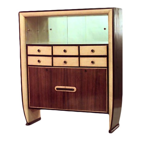Italian 1940s Rosewood and Parchment Cabinet For Sale