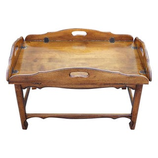 '70's Dark Wood Tone Drop Leaf Coffee Table For Sale