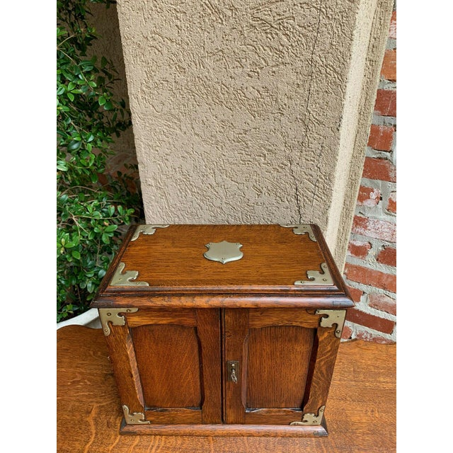 English Antique English Tiger Oak Pipe Smoke Cabinet Card Game Box Humidor Lift Top For Sale - Image 3 of 13