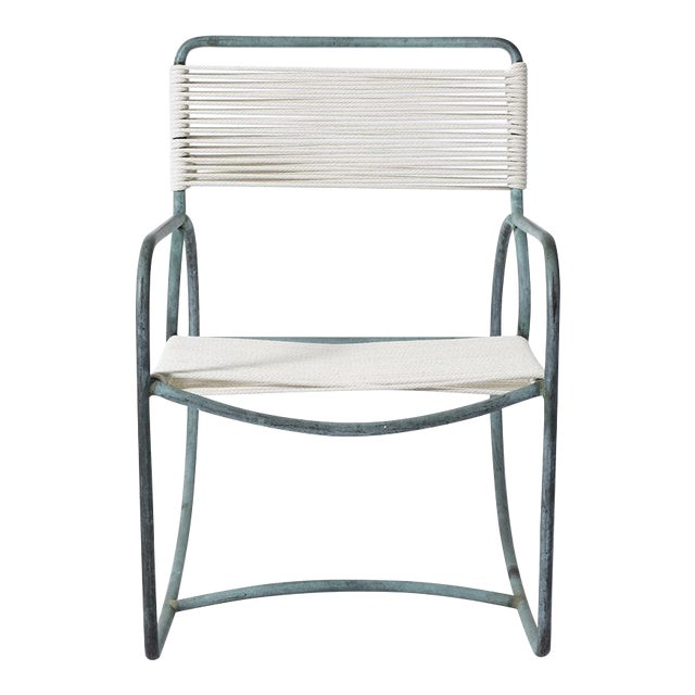 Single Walter Lamb Bronze and Rope Patio Rocking Chair - Image 1 of 5