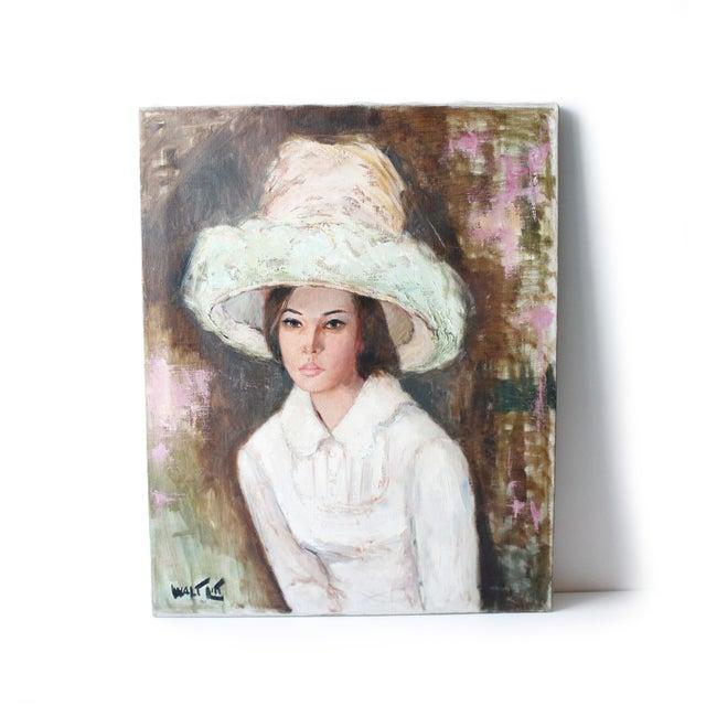 Lovely original portrait painting of a woman wearing a bonnet hat by American artist Walter Litt. Oil on canvas, mounted...