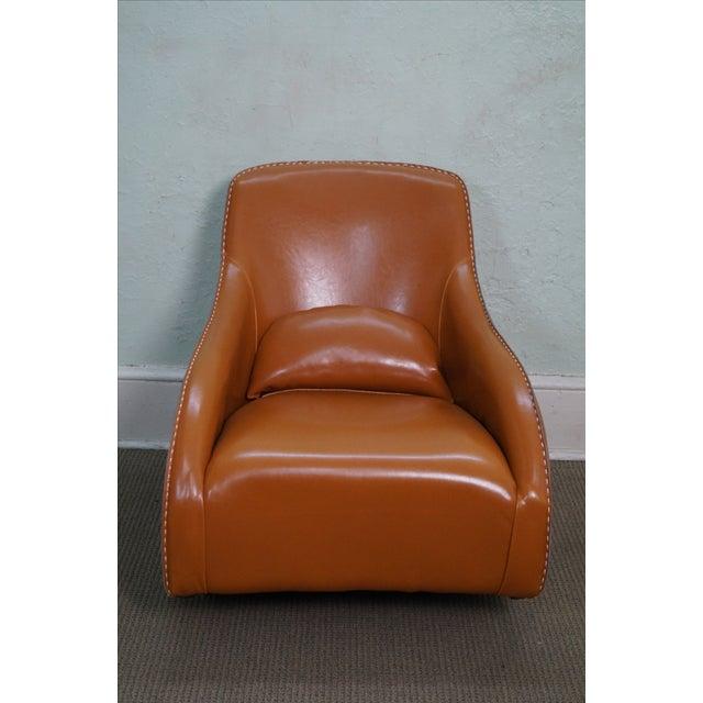Unusual Italian Leather Rocking Lounge Chair - Image 2 of 10