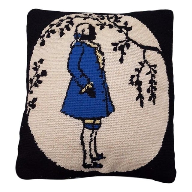 Jonathan Adler Style Vintage Funky Needlepoint Pillow For Sale - Image 4 of 4