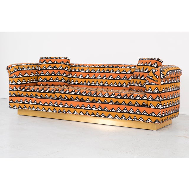 Rounded Barrel Back Brass Platform Sofa Reupholstered in African Mud Cloth - Image 4 of 11