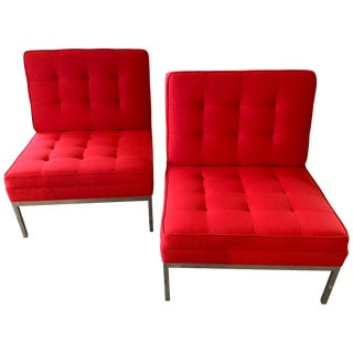 Red Florence Knoll Lounge Chairs For Sale