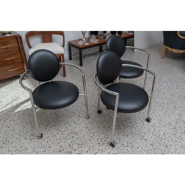 Asian 1980s Moon Chair in Black Leather and Chrome by Brueton For Sale - Image 3 of 12
