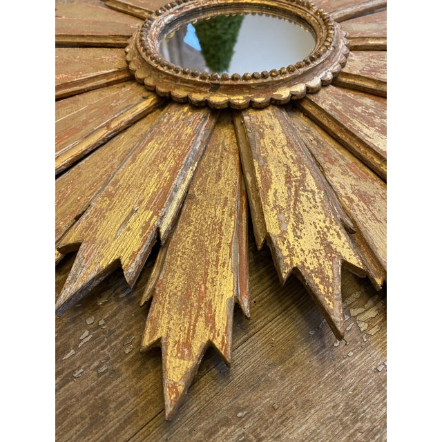 2000 - 2009 Pair of Italian Sunburst Mirrors With Wood Rays For Sale - Image 5 of 12