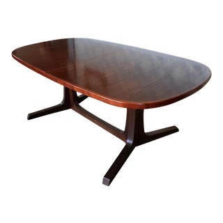Danish Modern Dark Rosewood Trestle Style Dining Room Table W/ 2 Leaves 1970s For Sale