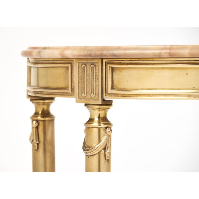 Neoclassic Marble-Top Brass Demilune Console Table - Image 9 of 11