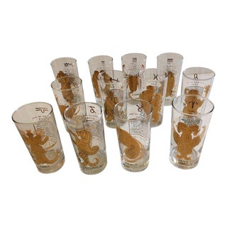 Horoscope Highball Glasses -Set of 12 For Sale