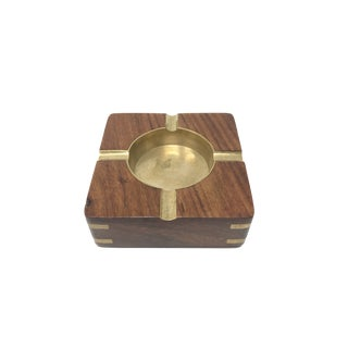 Mid 20th Century Walnut and Brass Inlaid Ashtray For Sale